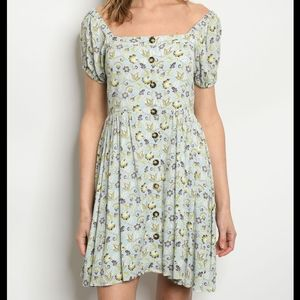 My Beloved Button Up Short Sleeve Peasant Dress S
